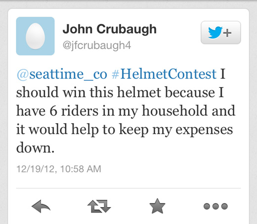 Seat Time Helmet Contest Winner