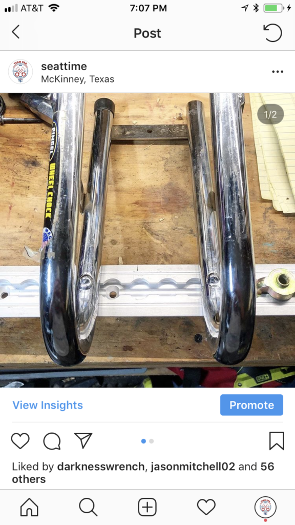 instagram screenshot of l-track wheel chock