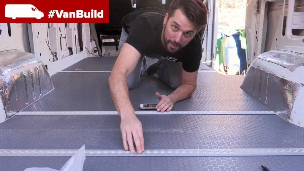 small coin floor installation into the moto van build