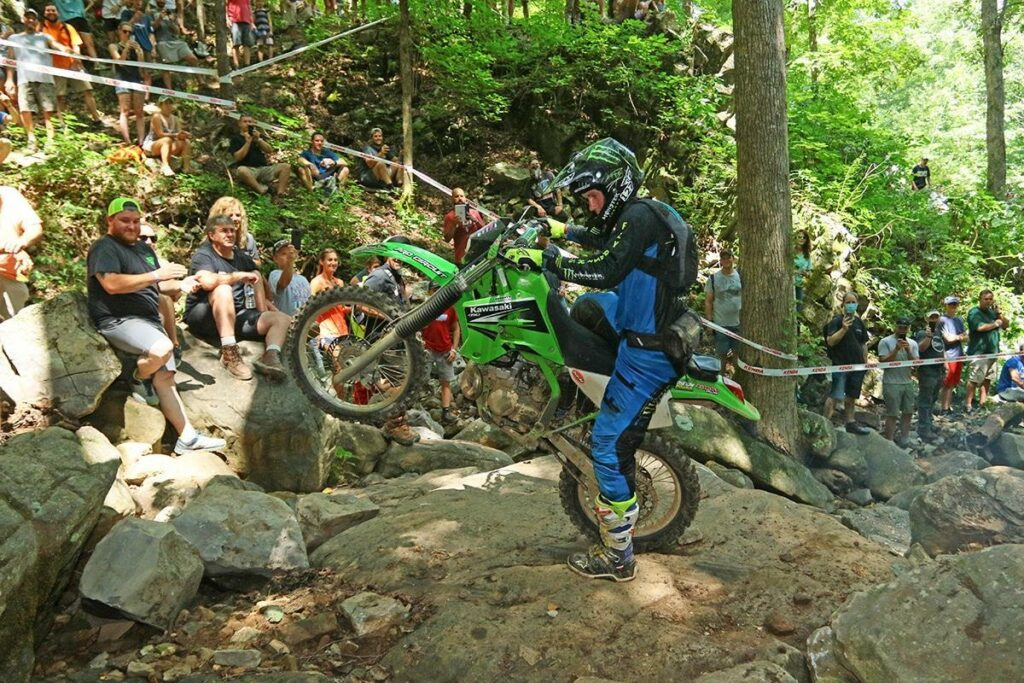 Jordan Ashburn on his Dad's KDX 200