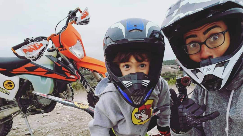 Rebekah Segura and here son riding dirt bikes.
