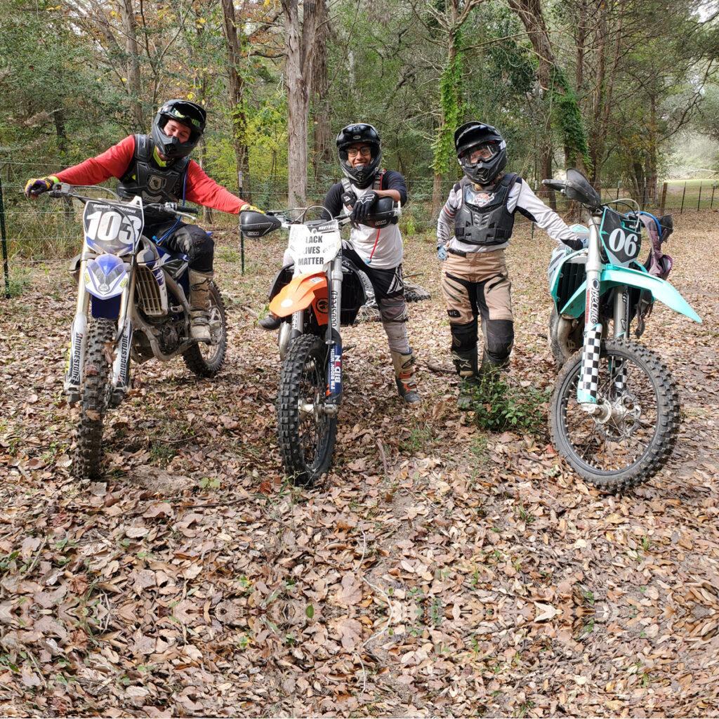dirt bikers in the woods