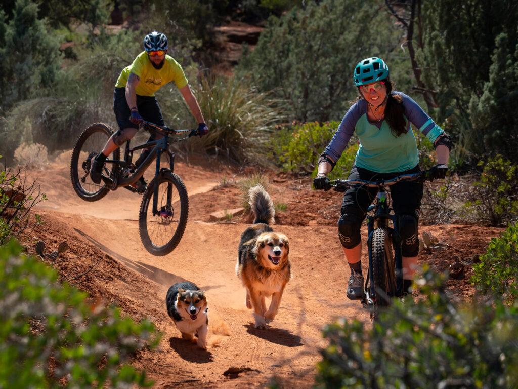 mountain biking family with two trail dgos