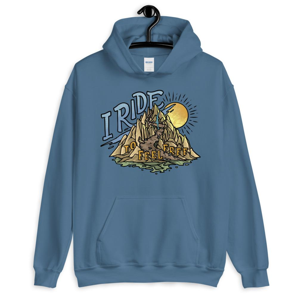 I Ride to Feel Free Hoodie on a hanger.