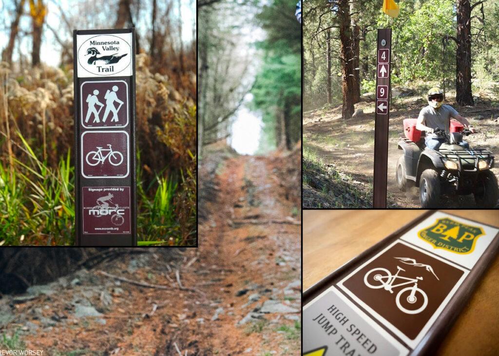 Fiberglass signs for trail marking.