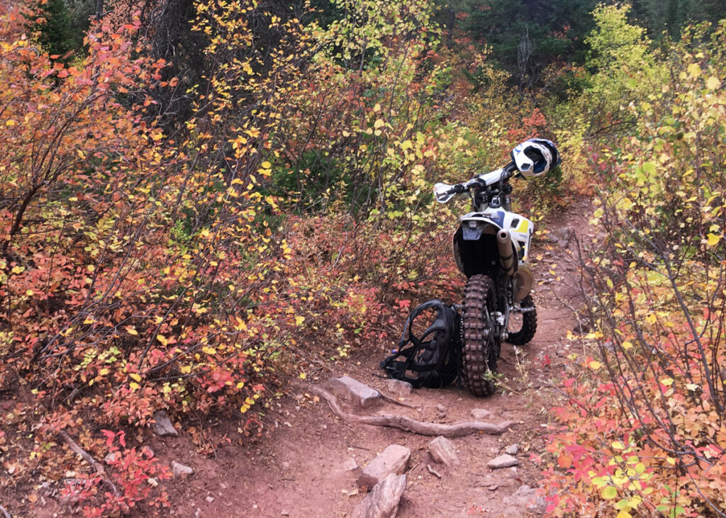 Dirt bike sitting on single track.