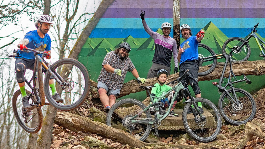 Mountain bikers enjoying the OZ Trails in North West Arkansas