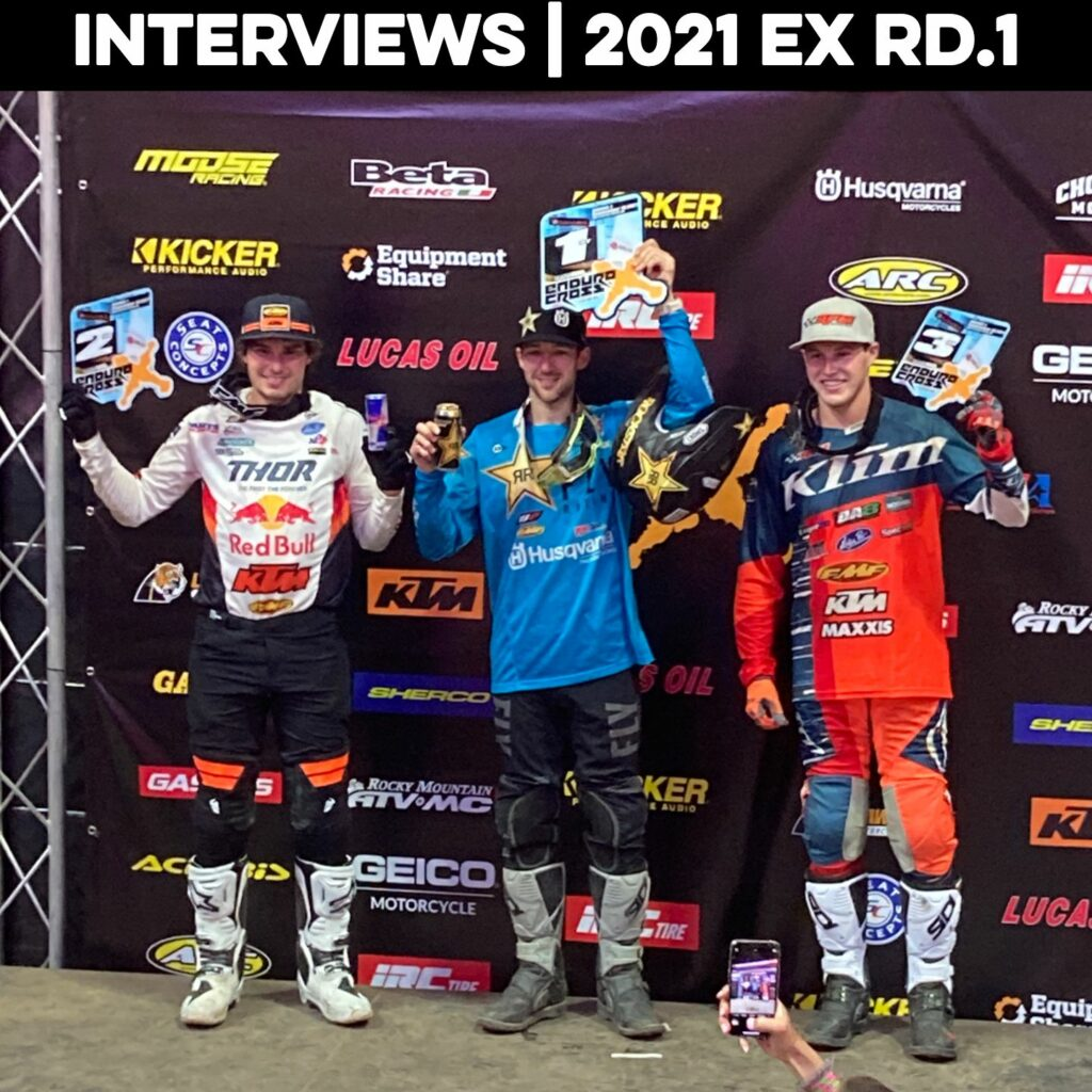 Endurocross racers on the podium.