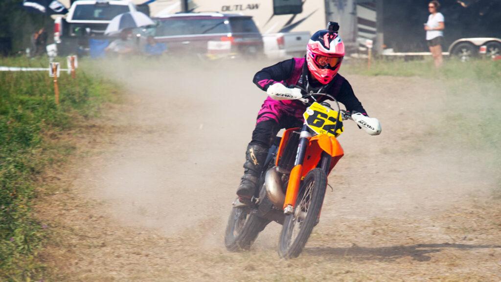 dirt bike racer on a grass track