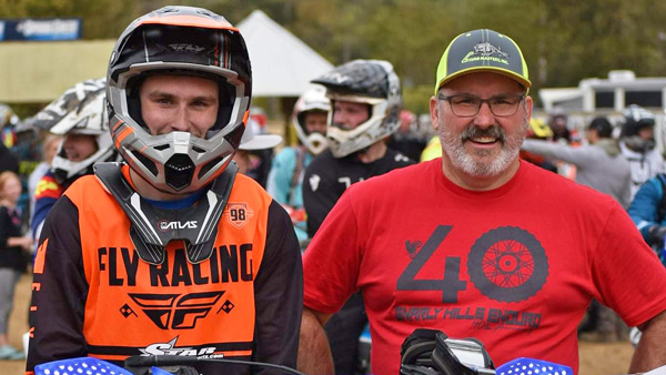 Jack Maki and his father on the starting line