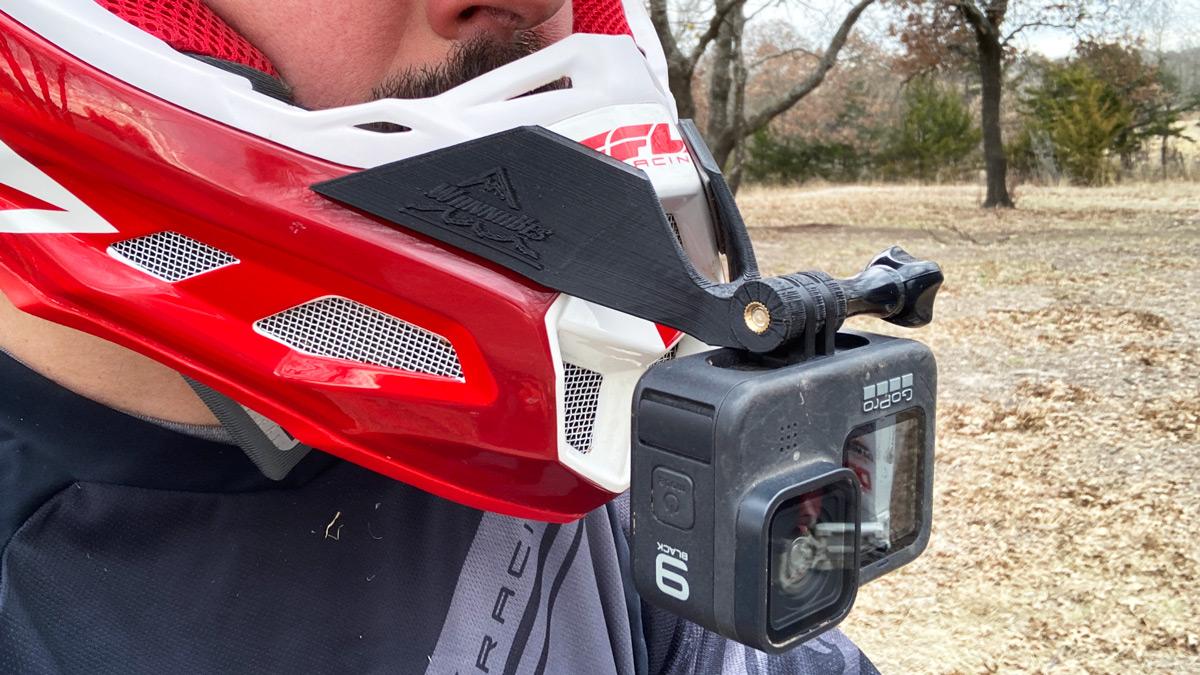 GoPro Hero 9 on a chin mounted mount