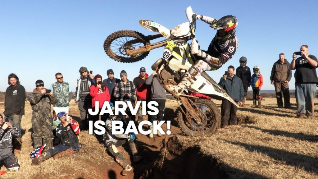Graham Jarvis dropping off a hard enduro obstacle.
