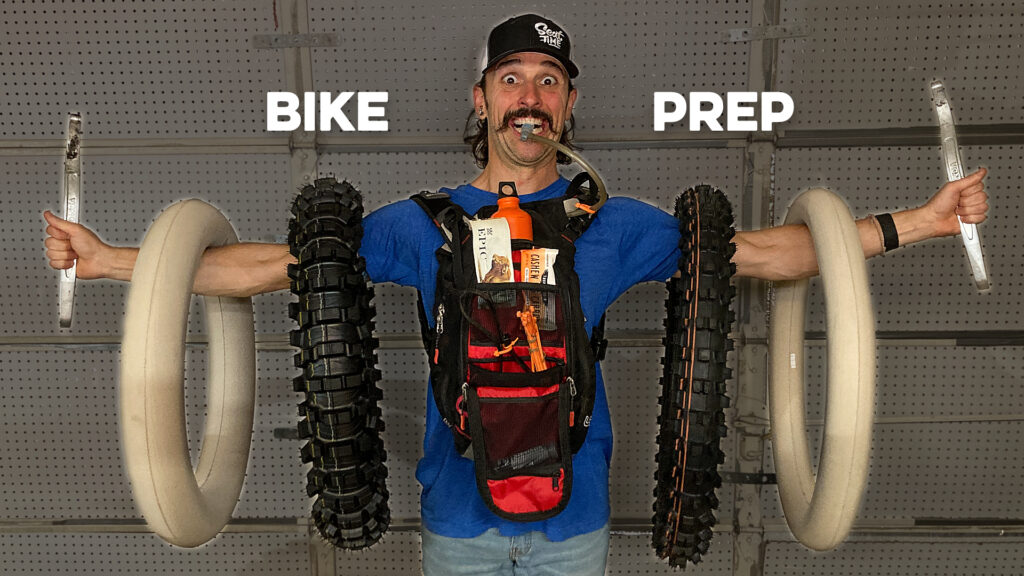 Brian Pierce of Seat Time with dirt bike tires ready for Colorado riding.