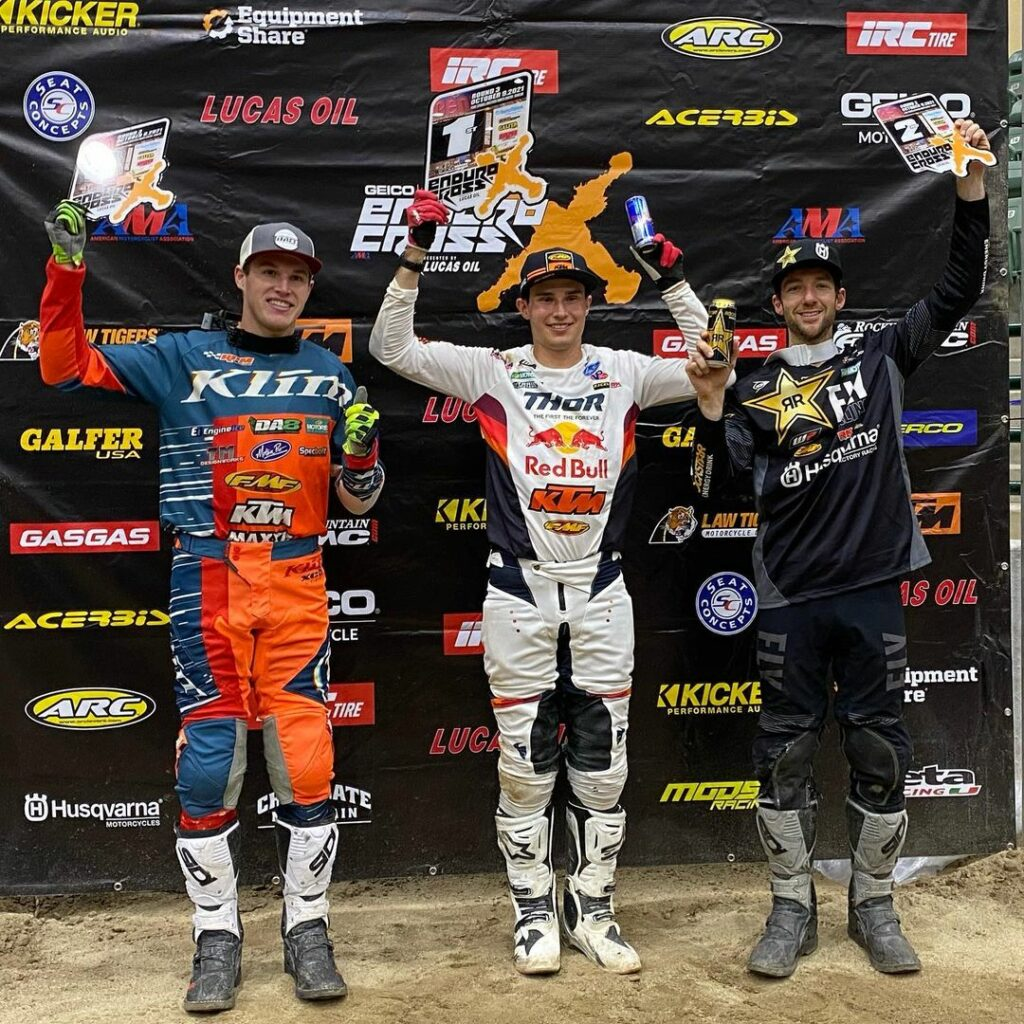 Top three racers on the Endurocross podium